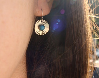 Hammered Sterling Silver Disc Earrings--Sedona--Vintage Turquoise Glass Cabochon--Oxidized