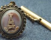 Vintage Carved Tie Tack Shell Cameo Eiffel Tower