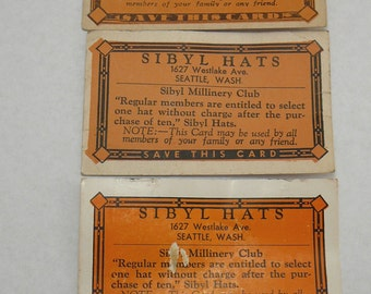 Vintage Hat Shop MIllinery Frequent Customer Loyalty Cards Sibyl Seattle
