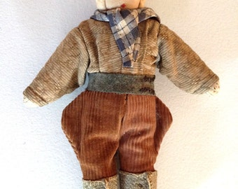 Vintage Handmade German Cloth Doll 1940s Riding Costume OOAK