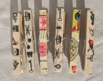 Nature Inspired Decorative Clothes Pins-Decorative Clothes Pins-Bag Clips-Chip Clips-Sheet Music Holder-Bookmark-Party Favor-Pretty Clips