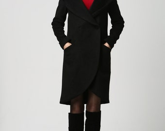 wrap coat,short coat,hooded jacket,Black wool coat,black jacket,womens coats,winter coat, hooded jacket, plus size coat,ladies clothing 1124