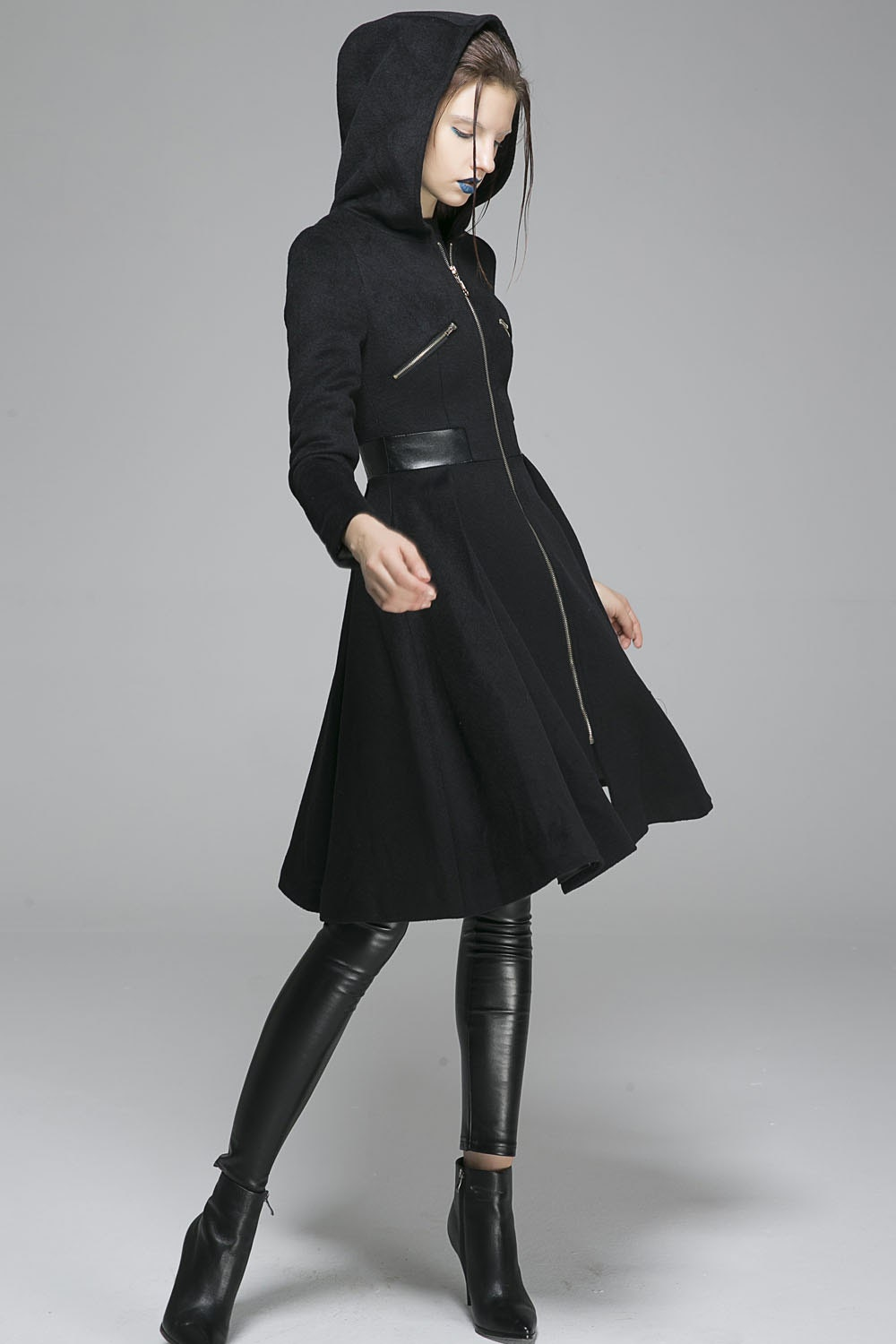 Long Jacket Black Coat Hooded Coat Wool Coat Coat Dress