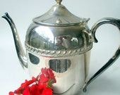 Vintage Coffee/Tea Pot,English,Silver on Copper, Crown Marking, 5 Cup, 1960s,Dining and Serving, Holidays, Beverage, Silverplate Serving
