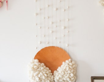 Wall hanging - From the clouds - wool and leather by Soledad Proaño
