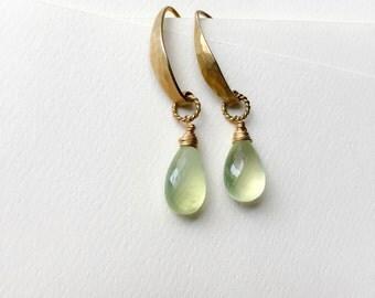 Prehnite Gold Earrings / Clairvoyant Earrings