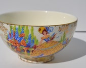 Vintage Chintz Crinoline Lady Bone China Empire England Sugar Bowl BTV04
