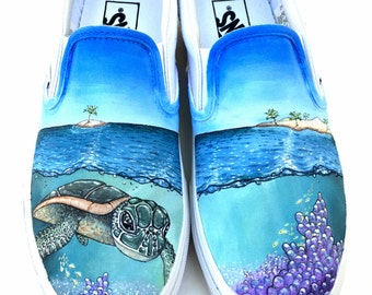 Custom Vans Shoes - Sea Turtle, Coral, Islands Hand Painted