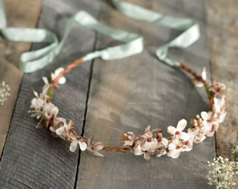 Rustic woodland bridal crown, floral circlet, fall wedding crown, vintage flower crown, autumn hair accessories