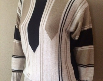 Vintage Women's 80's Striped Sweater, Acrylic, Knit by Alfred Dunner (M)