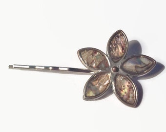 Abalone Flower Bobbypin Curved Bobby Pin Upcycled Barrette Hair Clip Hair Accessories Vintage Jewelry Hair Slide Hair Accessory Hair Pin