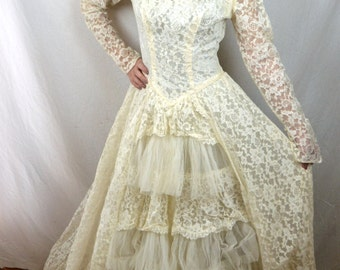 Lovely Vintage Classic Princess 1950s 50s Tulle Wedding Dress Gown