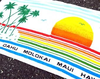 Vintage 80s Hawaiian Islands Rainbow Sunset Palm Tree Terry Cloth Summer Beach Towel