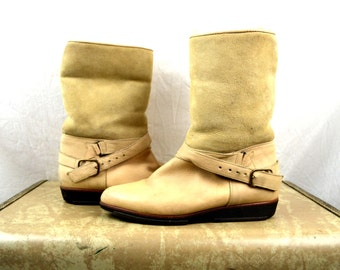 Vintage Suede Leather Shearling Winter Boots - Made in Italy