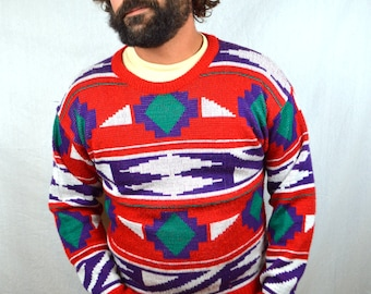 Vintage 80s Southwest Print Rainbow Knit Sweater