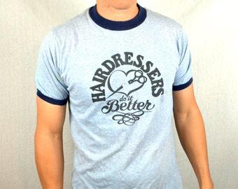 Vintage 1970s 70s Hair Dressers Do It Better Tshirt Tee Ringer Shirt