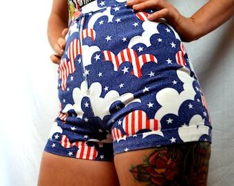 Vintage Hot Shorts - USA Stars and Stripes Red White Blue Mini Shorts