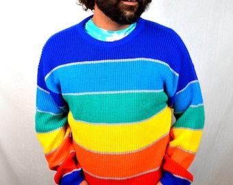 RAD Rainbow Vintage 80s OP Ocean Pacific Geometric Sweater