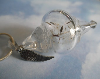 Dandelion Seed Glass Reliquary Terrarium Coin Shaped Pendant w/Angel Wing Charm-Ride The Wind-Gifts Under 35-Symbolizes Happiness, Affection