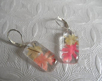 Tiny Ombre Autumn Maple & Oak Leaves Glass Rectangle Leverback Earrings-Harvest, Rustic, Earthy-Gifts Under 25-Nature's Wearable Art