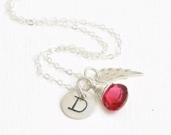 Sterling Silver Personalized Infant Loss Memorial Jewelry / Miscarriage Necklace with July Birthstone / Condolence Gift for Loss of a Baby
