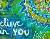 Believe in You // Original Abstract Acrylic Painting -  24 x 12
