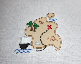 Free Shipping  Ready to Ship Treasure Map Fabric iron on applique
