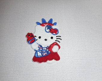 Free Shipping Ready to Ship Statue of liberty cat Machine Embrodiery  iron on applique