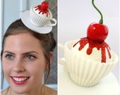 Tea Party Headpiece, Tea Party Headband, tea party Fascinator, Tea Cup Topped With Cherry, Alice in wonderland Fascinator