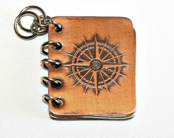 Not All Who Wander Are Lost, Tolkien, Book Pendant, Hand Stamped Copper and Brass with Etched Compass, Can Be Customized