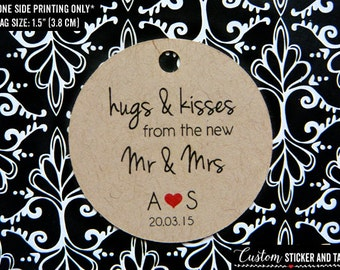 50 hugs and kisses from the new Mr & Mrs tags, personalized wedding favor tags, custom gift tags, goody bag tags, rustic wedding (T-05)