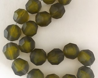 Vintage  Glass Beads - Faceted Matte Olive Green