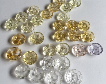 Vintage German Glass Buttons - 32 Assorted  Clear and Clear  Lemon Yellow