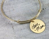 Handwriting Bracelet, Signature Bangle Bracelet, Sterling Silver, Rose Gold, Yellow Gold Layering Bracelet, Remembrance Bracelet, Memorial