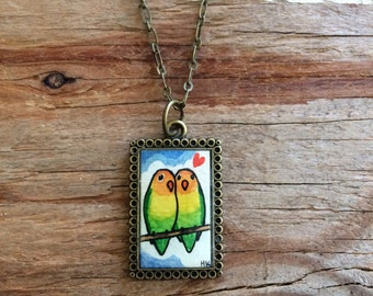 Lovebirds Necklace - Original Watercolor Hand Painted Necklace Pendant - Love Birds Jewelry