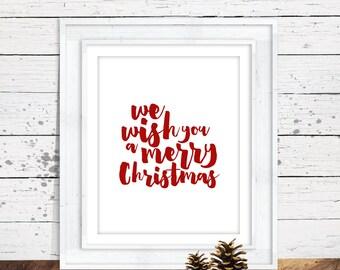 We Wish You a Merry Christmas Wall Art - 8x10 Printable