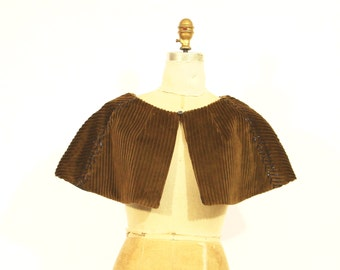 Brown Corduroy Capelet with Beading