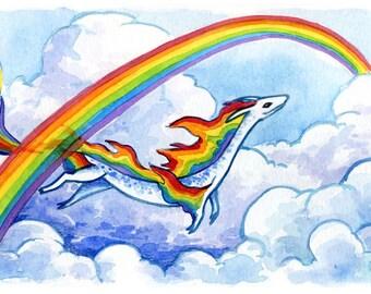 30 Days of Dragons - Rainbow Dragon - Original Mixed Media Painting