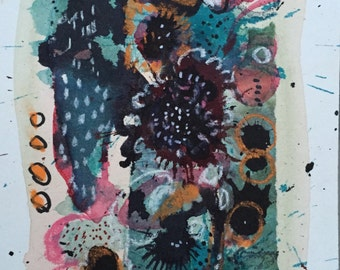 Mixed Media Abstract Collage Painting Original Art