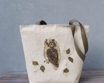 Linen Embroidered Owl Tote Natural Woodland Bag