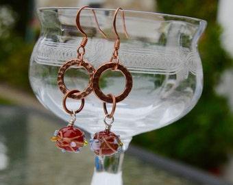 Copper Handmade Lampwork Bead Earrings