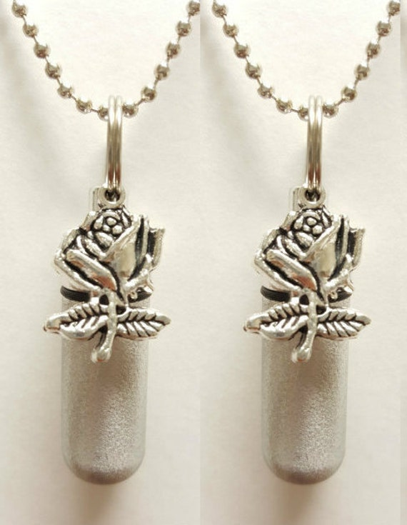 Set of TWO - Brushed Silver Anointing Oil Holders with Vials and Silver Rose  - with 2 Velvet Pouches, 2 Ball Chains, & Fill Kit