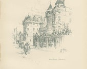 Holyrood Palace, Edinburgh, Scotland, 1912, Hornby Illustration 15, Pencil Drawing, Antique Lithograph, Library Decor, Office Decor