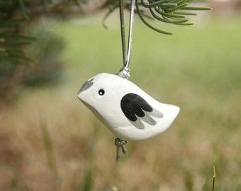 Silver Bird Ornament - simple white christmas tree ornament, rustic holiday decor, nature inspired art, gifts under 20