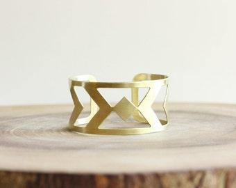Gold Cuff Bracelet - wide raw brass cuff bracelet, geometric jewelry, gold statement cuff, southwestern jewelry, arrow cuff, metalsmith