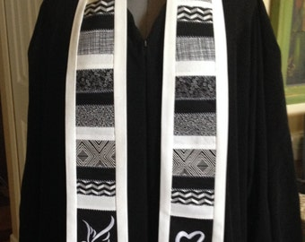 Black & White Clergy Stole with Heart and Dove