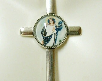 Immaculate conception cross pendant and chain - AP35-033