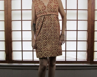 Vintage 60's Red Gold Brocade Shift Dress M
