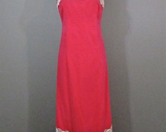Vintage 60's Fuchsia Velvet Maxi Dress Irish Lace Trim M