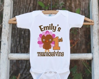 Girls First Thanksgiving Outfit - Thanksgiving Onepiece - Baby's First Thanksgiving With Turkey - Personalized Girl 1st Thanksgiving Outfit